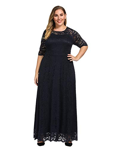 Chicwe Women's Plus Size Stretch Lined Scalloped Lace Maxi Dress - Evening Wedding Party