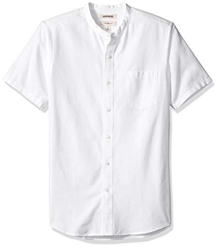 Goodthreads Men's Slim-Fit Short-Sleeve Band-Collar Oxford Shirt, -white, Large