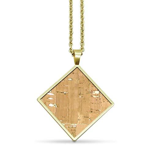 KAALEE® Square Halskette Gold Kork (64cm) | Naturegold Natur Beige Braun | Vergoldet Nickelfrei | Damen Kette mit Anhänger Quadrat Holz - Made in Germany - inkl nachhaltiger Geschenk Box