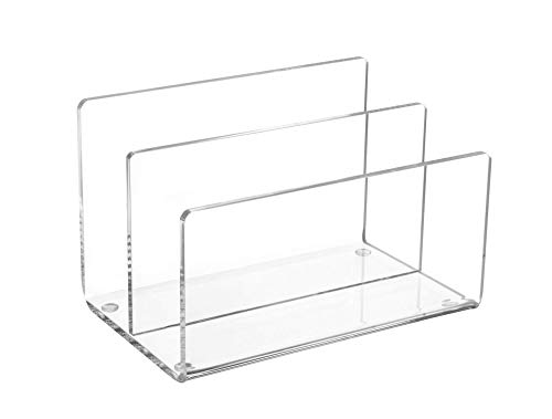 Maul Acryl Kartenständer, 2 gestufte Fächer, Eleganter Tischorganizer, Glasklar, 1952005