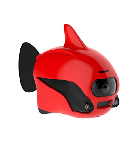 AHELT-J Drone Submarino Robot de Peces Pequeños Sumergible Inalámbrico Mando a Distancia para Drone con Cámara 4K HD, Conexión WiFi Bionic Diseño Peces Robot Mascota en Piscinas y Lagos,Rojo