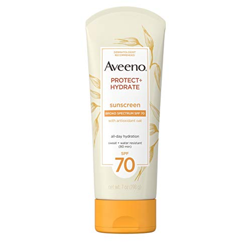 Aveeno Protect + Hydrate Moisturizing Daily Sunscreen Lotion with Broad Spectrum SPF 70 & Antioxidant Oat, Oil-Free, Lightweight, Sweat- & Water-Resistant Sun Protection, SPF 70, 7 oz