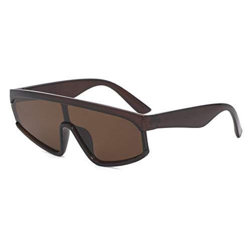 YAYADI Sonnenbrille Damen,Retro Cat Eye Sonnenbrille Frauen Retro Persönlichkeit Spiegel Monokel Sonnenbrillen Mode Brillen Gläser Abdeckung Uv400 Kaffee Braun