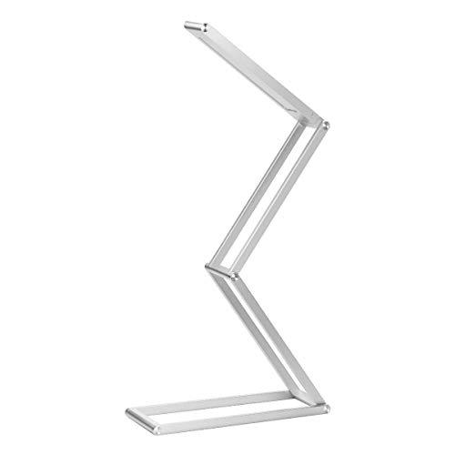 ELZO Lámpara de escritorio LED, lámpara recargable portátil inalámbrica USB recargable, cabezal de lámpara giratorio, 3 modos regulables para dormitorio, oficina, universidad, camping(Plata)