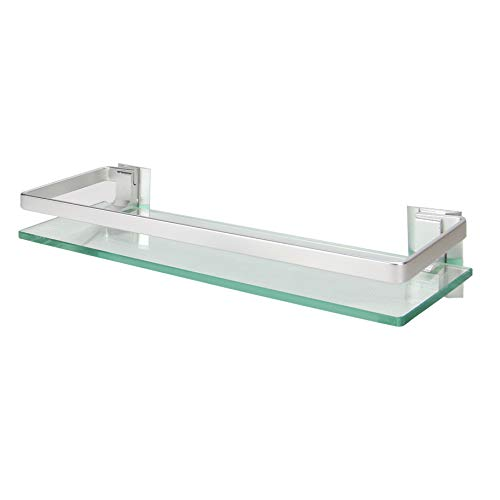 Tempered Glass Shelf with Aluminium Rail | Wall Mounted Bathroom Shelves | Strong Safety Glass Storage Shelf | Stylish Bathroom Accessories | M&W (1 Tier)