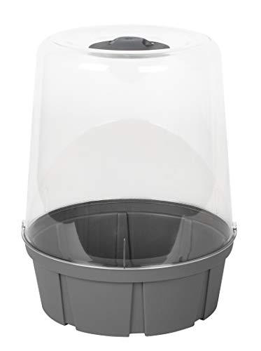 EDA PLASTIQUES Mini serre de culture ronde- Ø 25 x H 32 cm - Gris anthracite