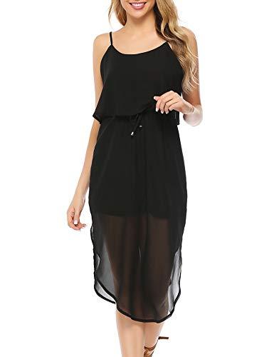 Aibrou Damen Sommerkleid Casual Chiffon für Frauen, Elegant Ärmellos Kleid Verstellbaren Spagettiträgern Freizeitkleider Sommer Strandkleid Minikleid