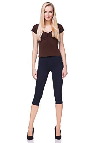 FUTURO FASHION - Leggings mit 3/4-Länge - Baumwolle - extra bequem - Übergrößen - Dunkelblau - 40 (L)