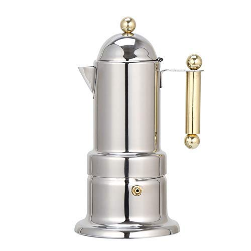 Stovetop Espresso Maker,Express Coffee Maker,Moka Pot 4 Cups Demitasse Espresso Shot,Stainless Steel,Italian Design for Espresso, Cappuccino and Latte,Coffee