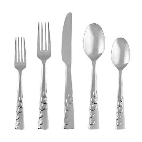 Cambridge Silversmiths Blossom Sand 20-Piece Flatware Silverware Set, Service for 4, Stainless Steel, Includes Forks/Knives/Spoons, Count, Brushed Finish