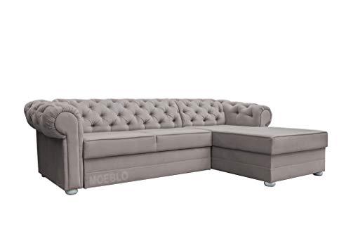 MOEBLO Chesterfield Ecksofa Sofa Couch Garnitur Stoff Samt (Velour) Glamour Wohnlandschaft - Avia (Beige, Ecksofa Rechts)