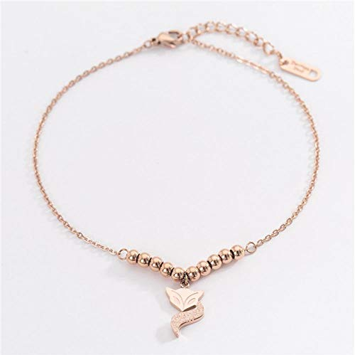 Vvff Rose Gold Color Anklet Lucky Fox Chain Woman Stainless Steel Jewelry Top Quality Not Fade Size 20+5Cm
