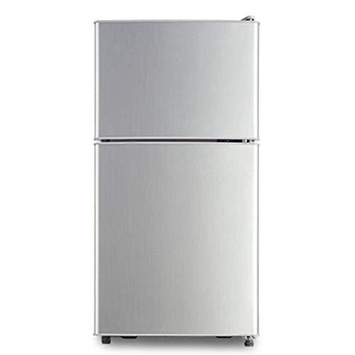 GUOCAO Mini refrigerador Toro Vidrio;Bull de 2 Bancos de Puertas;Bull Funcionamiento silencioso;Plata [Nivel de energía A + Refrigeradores