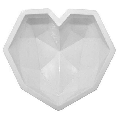 HHYSPA Diamond Heart Silicone Mold 3D Silicone Large Heart Shape Cake Mould,DIY Tools Geometric Baking Mold Heart Molds Non-Sticky Cookie Dessert Mould, for Home Kitchen