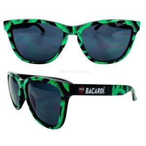 Bacardi Rum Nerd Sonnenbrille mit Palmenmuster grün UV400 Unisex Retro Vintage Style Party Festival Bar