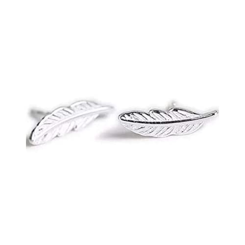 7b5b80f07 iszie jewellery sterling silver Pretty Little Feather Stud Earrings, Feather  Earrings for women,Leaf