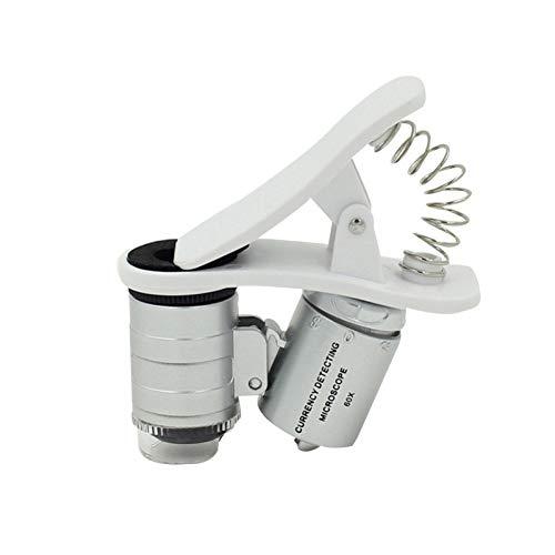 KONGZIR Teléfono Mini 60X Lupa móvil universal clip portable LED de la lupa del microscopio de la lupa de divisas Detector UV linterna (Color : W)
