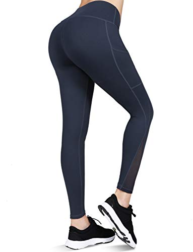 High Waisted Yoga Pants with Pockets - Tummy Control, Squat-Proof Workout Pants for Women, 4 Way Stretch Yoga Leggings Charcoal