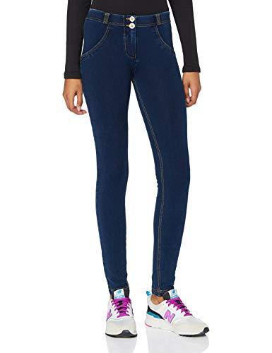 FREDDY Pantalone WR.UP Skinny Vita e Lunghezza Regular in Denim Scuro - Jeans Scuro-Cuciture Gialle - Extra Small