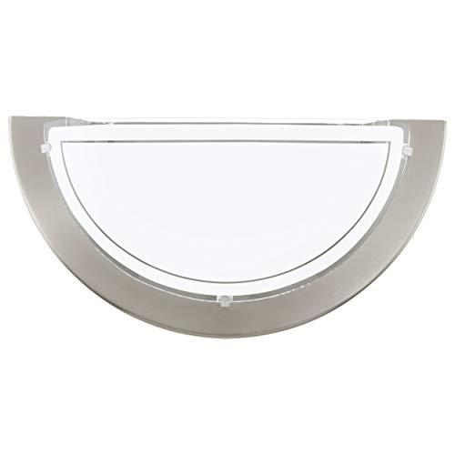 EGLO Wandlampe Planet 1, 1 flammige Wandleuchte modern, Wandbeleuchtung für Innen aus Metall und Glas, Wohnzimmerlampe in Nickel-Matt, Weiß, Flurlampe halbrund mit E27 Fassung