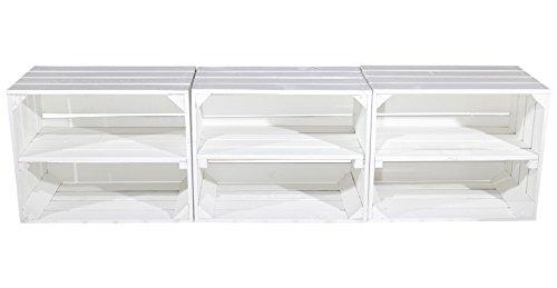 Deko Holzkiste (weiß), 3 Stück im Set, mit Mittelbrett im Shabby Look 50x40x30cm groß, perfekt einsetzbar als Schuhregal, Bücherregal, Obstkiste, Nachttisch oder im Garten