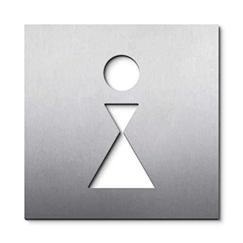PHOS Edelstahl Design, PS0401K, 12 x 12 cm, WC Türschild Frauen, Edelstahl gebürstet, selbstklebend, Toiletten-Symbol, Damen Schild, Türschild Aufkleber, Zeichen für Toilette, Piktogrammschild