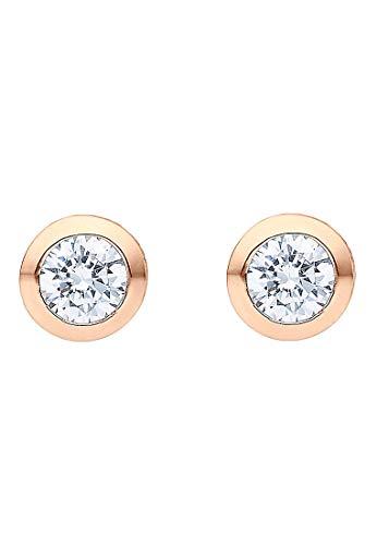 JETTE Damen-Ohrstecker 925er Silber 2 Zirkonia One Size Roségold 32010183