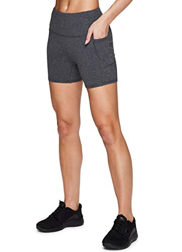 "RBX Active Women's High Waist Cotton Spandex 5"" Inseam Running Yoga Bike Short with Pockets Charcoal 5-inch S"