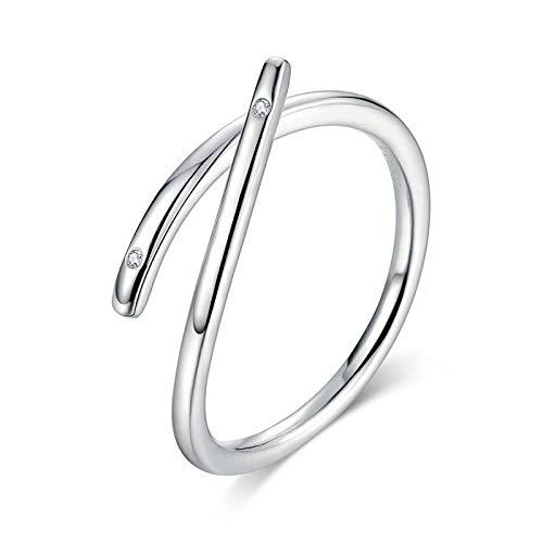 JIARU Anillo de plata de ley 925 ajustable para mujer, anillo simple y anillo de diamante en forma de corazón para niña, anillo de dedo abierto