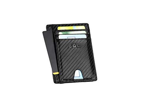 Portafoglio CASH4NEXT™ Slim-Porta Carte Di Credito Uomo Donna-Protezione RFID Schermato Anticlonazione-Fibra Di Carbonio-Porta Documenti Tessere Badge Biglietti da Visita