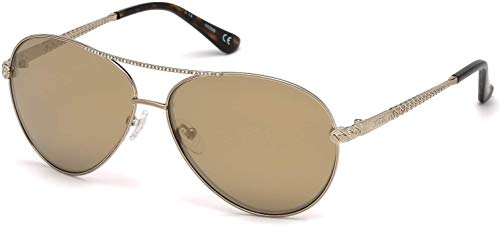 Guess GY7470-S 32G 60MM Shiny Gold With Crystal Stones/Brown Mirror Pilot Sunglasses For Women + FREE Complimentary Eyewear Kit
