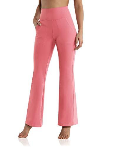 ODODOS High Waisted Bootcut Pockets Yoga Pants Workout Pants for Women Bootleg Work Pants Dress Pants, Pink, X-Large