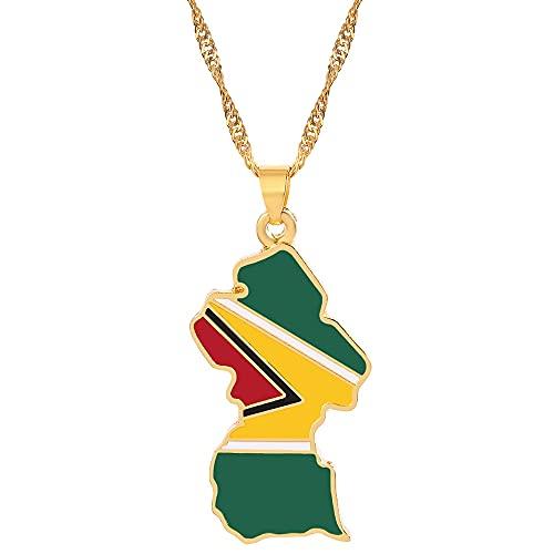 VAWAA Collares con Colgante de Bandera de Mapa de país de Hip Hop, Color Dorado para Mujer, India, Barbados, Guyana, Malí, Brasil, Colgante, joyería étnica