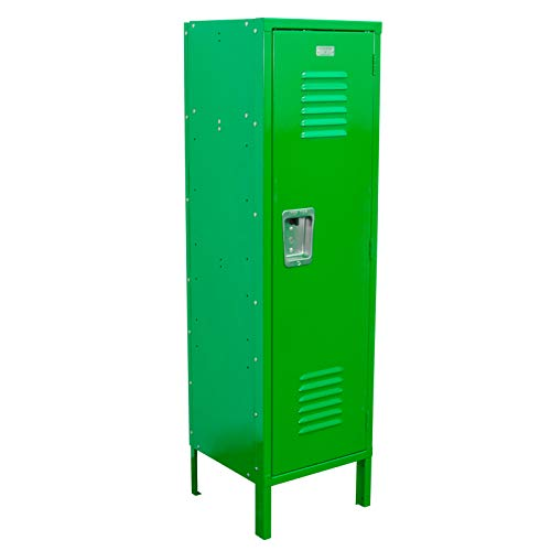 """Kids Locker 15"""" W x 15"""" D x 54"""" H Unassembled - 10 Amazing Colors Ideal for use in Kid's bedrooms, Dorm Rooms, mudrooms or The Garage Includes a Shelf, and Hooks and is Easy to Assemble (Green)"""