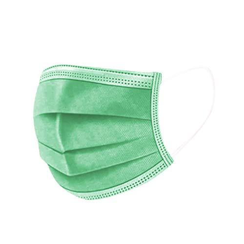 DIAU 10-100 Stück Erwachsene Einweg Mundschutz Multifunktionstuch, 3-lagig Mode Maske,Weiche Staubdicht Atmungsaktive Vlies Mund-Nasenschutz Bandana Halstuch (Grün)