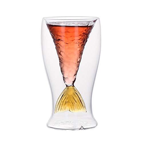 80Ml Doppio Bicchiere Bicchiere Da Vino Rosso Bicchiere Da Champagne Bicchiere Da Birra Trasparente Da Cocktail Sirena Design A Coda Di Pesce Forniture-Giallobicchieri In Vetro