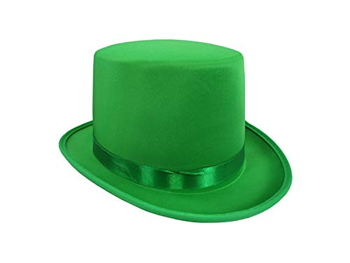 Deluxe Dress Up Party Satin Top Hat - Colored Costume Top Hats for Adults, Prom Dance Tuxedo Formal Top Hat, Green, One Size