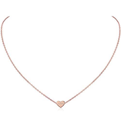 ChicSilver 925 Sterling Silber Freundschaftsketten Herz-Anhänger mit persönlicher Laser-Gravur Halsketten 45+5 cm, Personalisiert Geschenke für Mama…