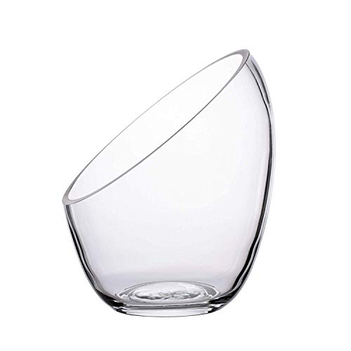 Ecosides - Jarrón de cristal transparente inclinado para terrario, diseño de globo redondo de cristal con burbujas de corte ancho, para poner caramelos, plantas, flores, frutas