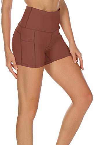 icyzone Workout Running Shorts for Women - Yoga Exercise Athletic Shorts Capris (S, Dusty Orange)