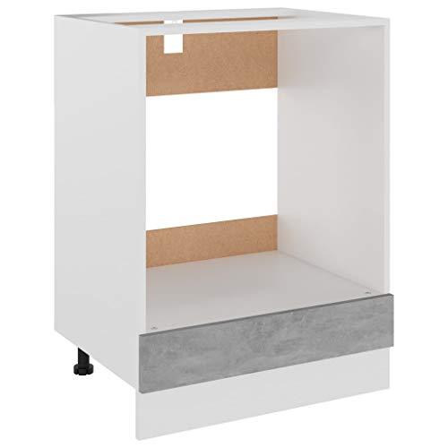 vidaXL Herdumbauschrank Küchenschrank Ofenschrank Backofenschrank Herdschrank Küchenzeile Küchenmöbel Backofen Betongrau 60x46x81,5cm Spanplatte