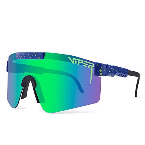 Broccoli Gafas de Sol Polarizadas de Doble Ancho, Lentes, Azul, Gafas de Sol para Ciclismo Gafas de Sol Polarizadas UV400 con Diseño Curvo y Más Ancho para Hombres y Mujeres,C12
