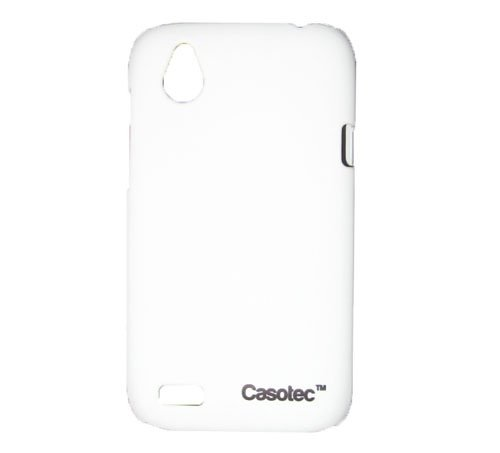 Casotec Ultra Slim Hard Shell Back Case Cover w/Screen Protector for HTC Desire V - White