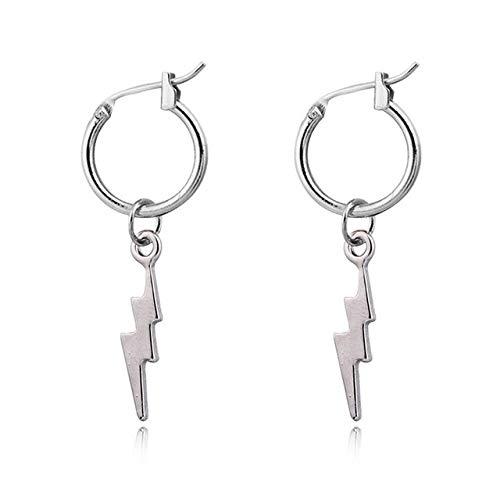 TIANFGEH Damesoorbellen 1 Paar Mini Nieuwe Mode Lightning Hoop Oorbellen Goud Zilver Kleur Leuke bliksem Voor Vrouwen Sieraden Zilver da