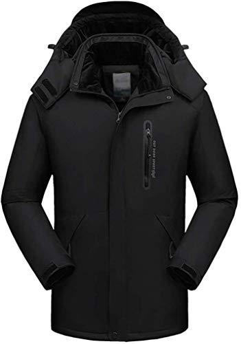 SSXZ Outdoor Softshell Jacken Für Herren Winddichte Bergsteigerjacke Atmungsaktive wasserdichte Warme Jacke Fleece Liner Mit Kapuze Mantel XXL Schwarz