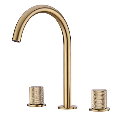 Grifo para lavabo de baño de 3 agujeros, grifo de baño de oro cepillado, grifo de latón para lavabo montado en la cubierta, grifo mezclador de lavabo de dos manijas,Brushed gold