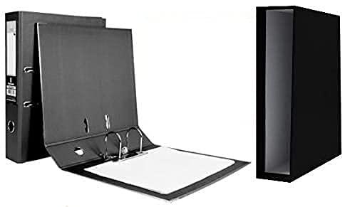 10 archivadores de palanca cartón folio documenta lomo 82mm color negro con caja