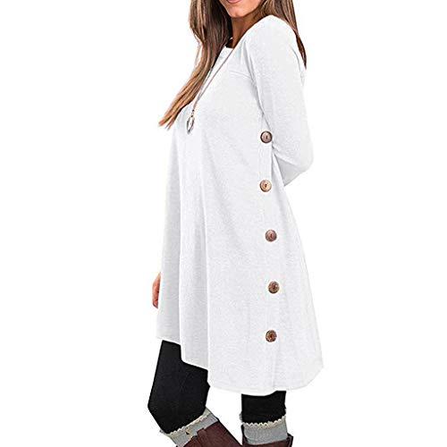 Damen-Langarmpullover für Herbst und Winter mit T-Shirt-Oberteilen Sweatshirts lässigen Knöpfen unregelmäßigem Saum (M, Weiß)