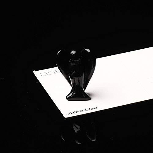 BIPL Decoracion Estatuas Escultura 1 Unid Cristal Natural Ojo De Tigre Ángel Cuarzo Mineral Joyería Curación Gema Ángel De La Guarda Estatua Decoración Moderna Decoración del Hogar Decoración-Negro
