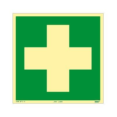 Rettungszeichen - Rettungsschild - Erste Hilfe Kunststoff nachleuchtend selbsklebend 200 x 200 mm